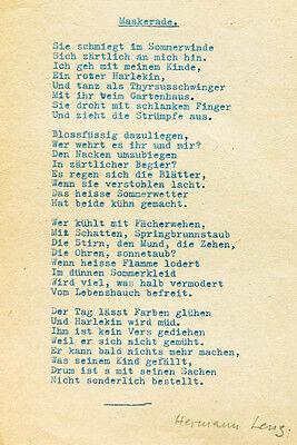 1945 Hermann Lenz Gedichttyposkript mit eigenhändiger Unterschrift Maskerade