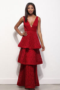 BURGUNDY/RED TIERED STUNNING LACE DRESS