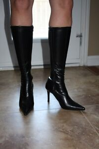 Black Pleather High boots Size 9