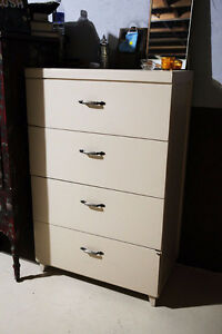 Dresser, Wood, Cream w/ Silver-Metal Handles