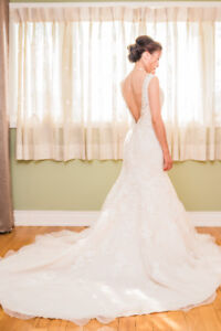 Beautiful designer MADELINE GARDNER ivory wedding gown with veil