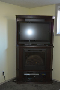 Entertainment stand. Comes with fireplace bonus!