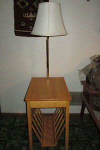END TABLE with magazine rack and reading lamp Peterborough Peterborough Area image 1