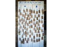 """Rustic wedding """"Key to your seat"""" door table plan"""