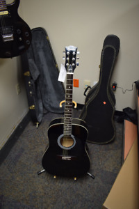 Gibson Maestro Acoustic Guitar, Black w/ Stand & Case #1284