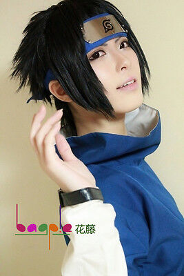 Naruto Uchiha Sasuke Black Short Flip Out Cosplay Costume Wig + free net](Sasuke Costumes)