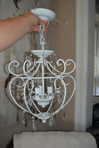 Adorable White Chandelier with Pendants