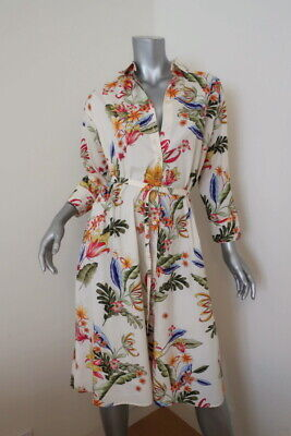 Zara Shirtdress Ivory Floral Print Cotton Size Small 3/4 Sleeve Belted Dress