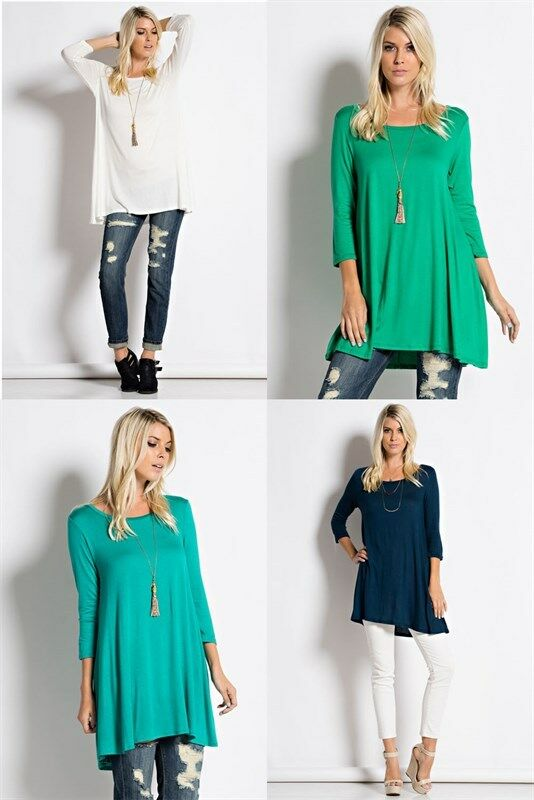 Купить Love In - USA Womens Round Neck Long Tunic Top Dress 3/4 Sleeve Shirt S M L XL Plus 2X 3X