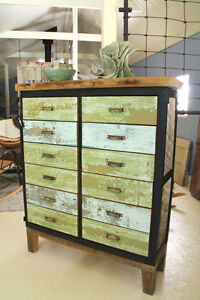 RUSTIC DRESSER, HAND CRAFTED, 12 DRAWER APOTHECARY STYLE