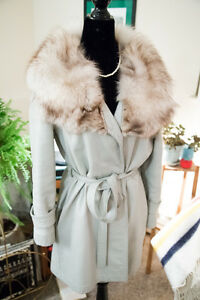 vintage grey leather and fox fur jacket