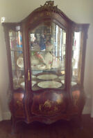 Antique French Victorian Mahogany China Cabinet (c. 1840)