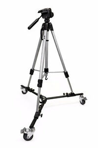 Video Camera Tripod w/ Fold-up Dolly