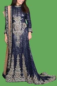 Preloved heavy bridal walima dress Electric blue long tail