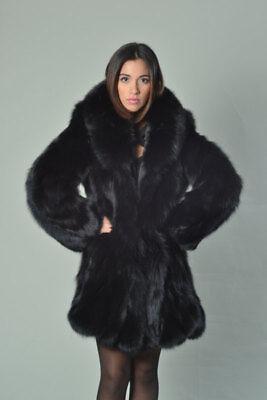 Luscious Black Fox Fur Coat Fur jacket Knee Length Luxury gift all sizes fashion