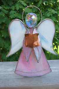 Stained glass angel tealight holder