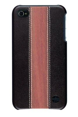 Trexta Leather & Cherry Wood Hard Snap On Case iPhone 4