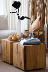 Reclaimed Solid Wood Cube Coffee Tables, Wood Block Side Tables