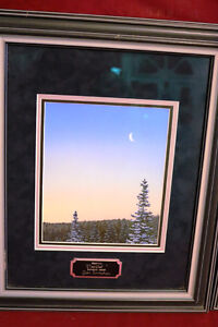 RARE ORIGINAL GLEN SCRIMSHAW PAINTINGS FOREST AND MOON, SNOWMAN