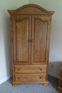 Solid Oak Armoire w/matching Nightstand