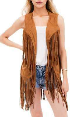 Women's Spring Hippie Faux Suede Fringed Vest Outerwear Cardigan Coat( Pecan )
