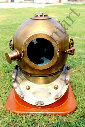 "18"" Antique Anchor Engineering Diving Helmet Deep Sea Divers With Wooden Base"