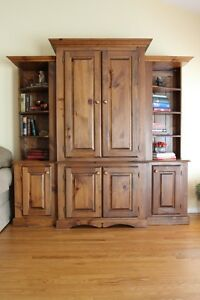 Large Pine Wall unit and TV entertainment center