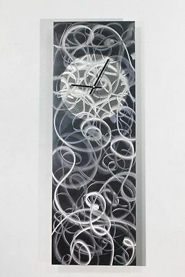 Statements2000 Metal Wall Clock Art Abstract Grey Silver Modern Decor Jon Allen