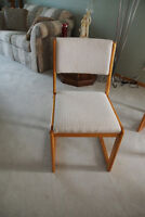 Four (4) Wooden Fabric Covered Dining Room / Kitchen Chairs