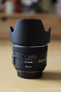 Canon 35mm F2 IS avec Pare Soleil