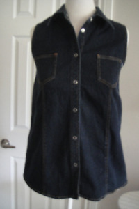 thyme DENIM MATERNITY TOP or JACKET~Sleeveless~Button Front