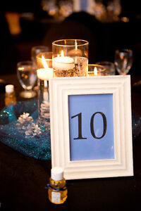 16 Wooden Frames Used for Table Numbers at Wedding