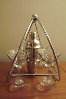 Retro Martini bar set & 6 shot glass set