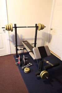 CAP Barbell Deluxe Bench w/ 190-Pound Weight Set & 4 Dumbbells!