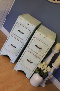 Turquoise / Aqua Shabby Chic Antique Bed Side Tables