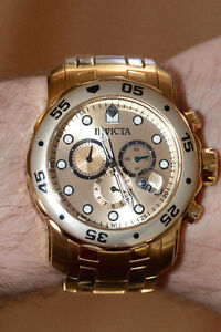Montre Invicta plaquée or - Invicta gold plated watch
