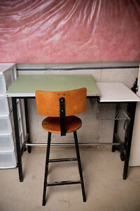 Metal Drafting Desk and Chair