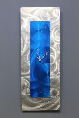 Statements2000 Metal Wall Clock Art Abstract Blue Silver by Jon Allen Day Break