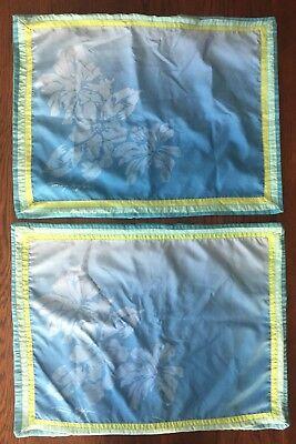 Tommy Hilfiger Home 2 Pillow Shams Standard Blue Green Floral Hibiscus Flag Logo