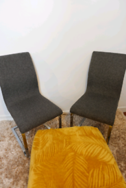 Set of 2 Modern Cantilever Dining Chairs Room Chair Table Upholstered