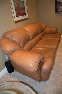 Leather Couch with Coffee Table and End Table