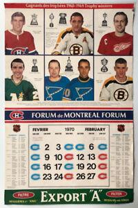 Trophy Winners 1968-1969 Vintage EXPORT Hockey Calendar.