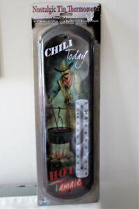 "NEW LARGE NOSTALGIC TIN THERMOMETER  17"" TALL INDOOR OR OUTDOOR"