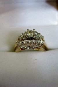 14K Gold and Diamond wedding set size 7.75
