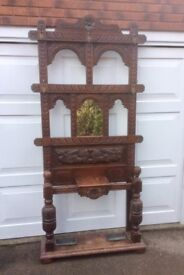 Substantial Old English Oak Carved Hall Stand