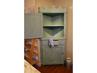 Antique Corner Cupboard Painted in Soft Blue plus Brass Handles