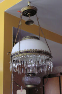 Hanging Kerosene Lamp with elevator - converted to electric
