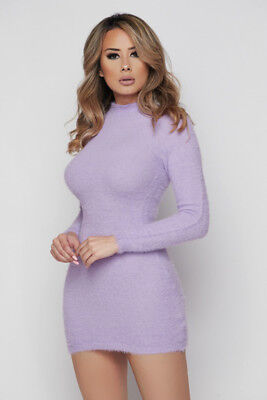 Lavender Knit Fuzzy Long Sleeve Mini Sweater Dress, S, M, L - Fuzzy Dress
