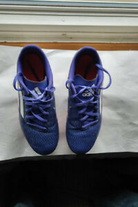 Used Adidas boys soccer cleats, size 7.  Purple.