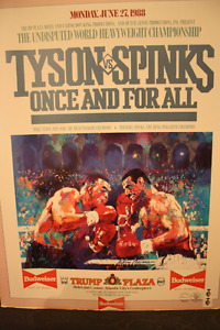 Mike Tyson vs Michael Spinks signed 1988 Poster frame